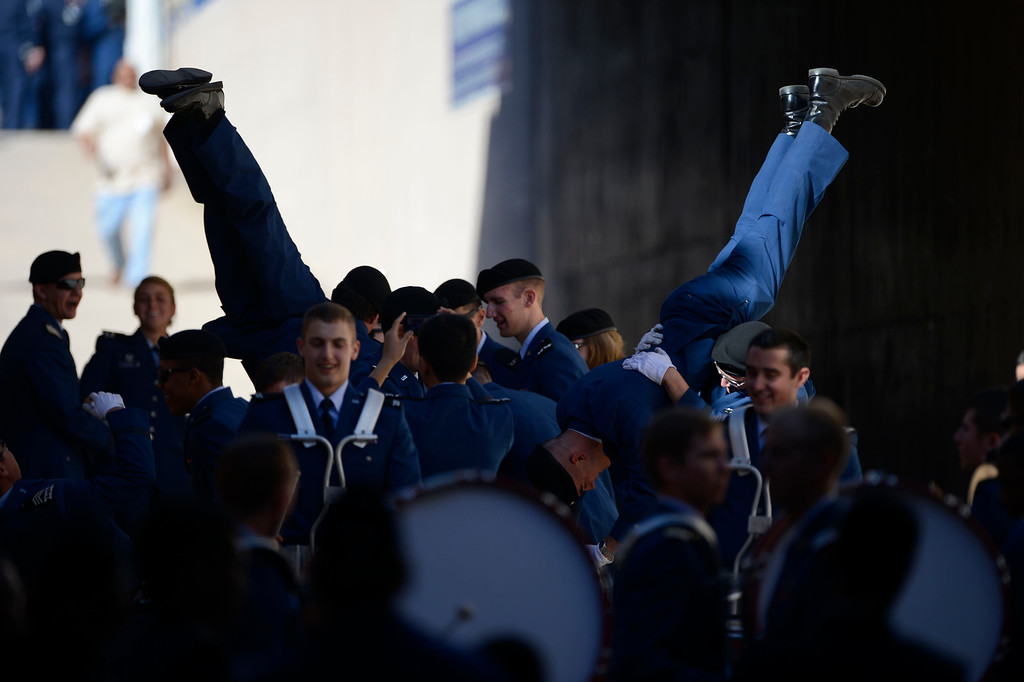 . COLORADO SPRINGS, CO - OCTOBER 26: Air Force cadets have fun before entering the field at Falcon Stadium to take their seats before the game against Notre Dame Saturday afternoon, October 26, 2013. (Photo By Andy Cross/The Denver Post)