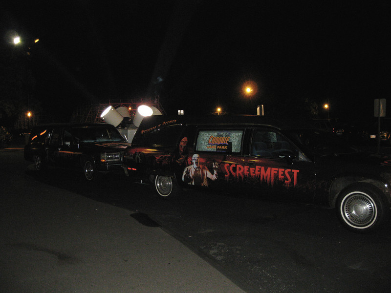 There were two ScreeemFest hearses parked outside.