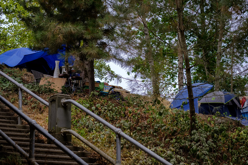 Homeless camp near the Fremont Troll