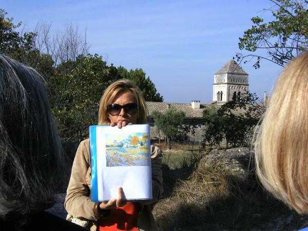 Guide (Mathilde) at Van Gogh Hospital, St. Remy