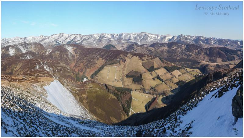 Glen Prosen and Glen Clova hills from Cat Law, Angus