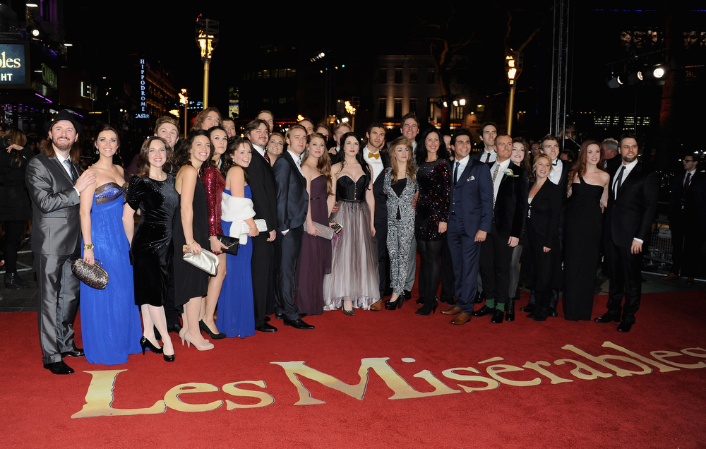 ". The cast of the West End stage production of Les Miserables attend the ""Les Miserables\"" World Premiere at the Odeon Leicester Square on December 5, 2012 in London, England.  (Photo by Stuart Wilson/Getty Images)"