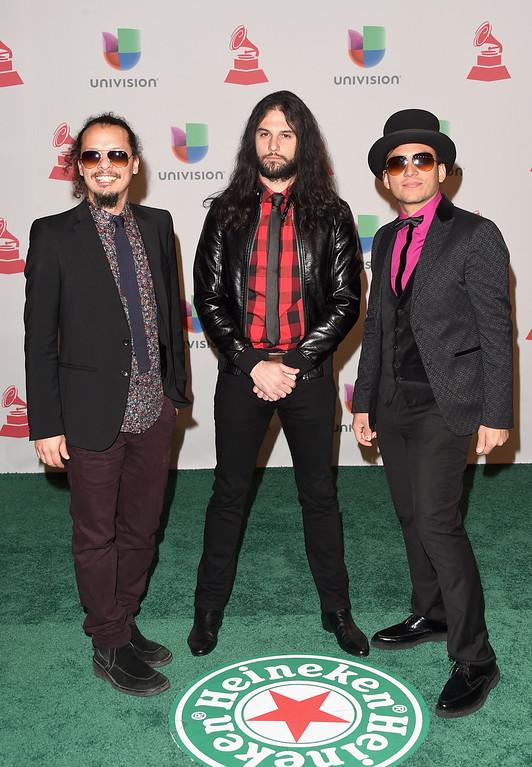 . (L-R) Musicians Eduardo Benatar, Willbert Alvarez and Carlos Mendoza of Luz Verde attend the 15th Annual Latin GRAMMY Awards at the MGM Grand Garden Arena on November 20, 2014 in Las Vegas, Nevada.  (Photo by Jason Merritt/Getty Images)
