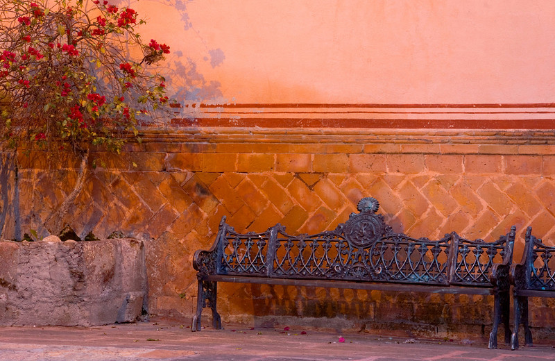 Church Courtyard with Bench