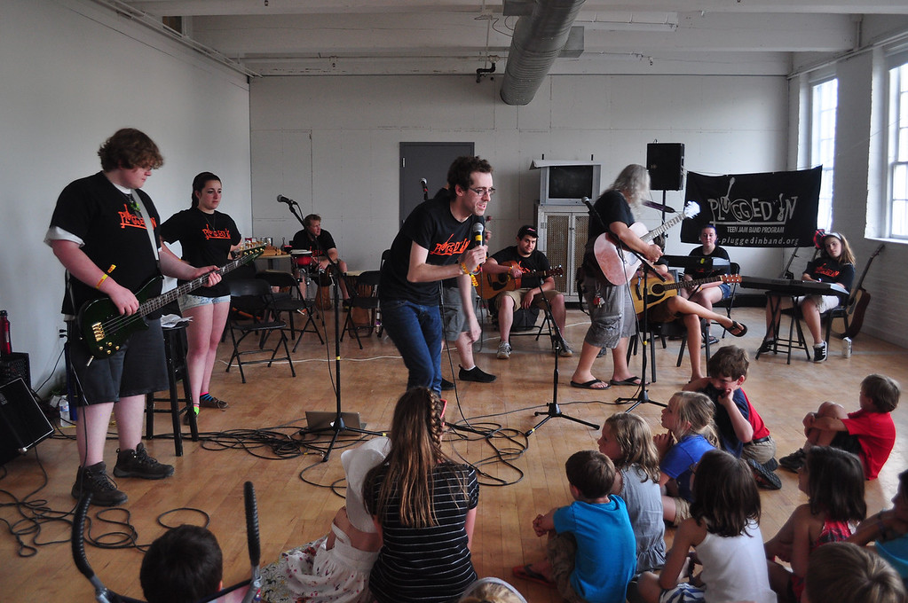 . Jack Guerino/ North Adams Transcript The Plugged In organization performs and provides a workshop for children attending the Solid Sound Festival Saturday.