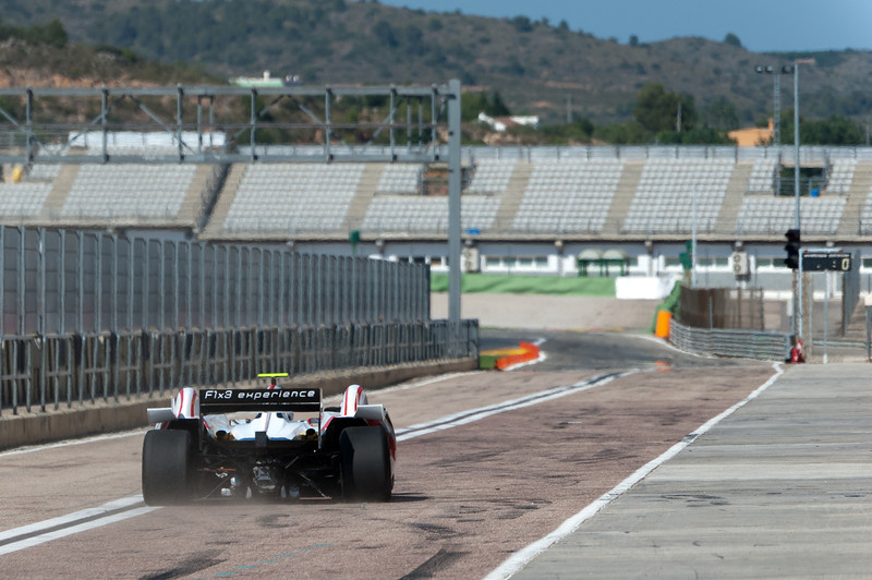 Car racing into the circuit at the 2011 European Grand Prix - Valencia, Spain