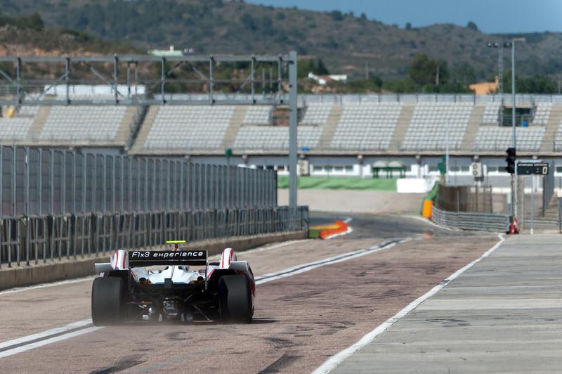 Car racing into the circuit at the 2011 European Grand Prix - Valencia, Spain