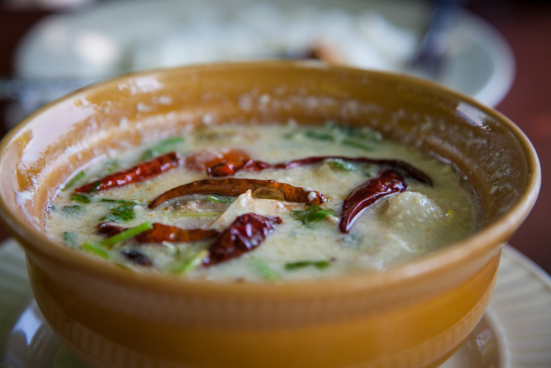 Soup for lunch. Tom kha gai - ginger chicken soup.