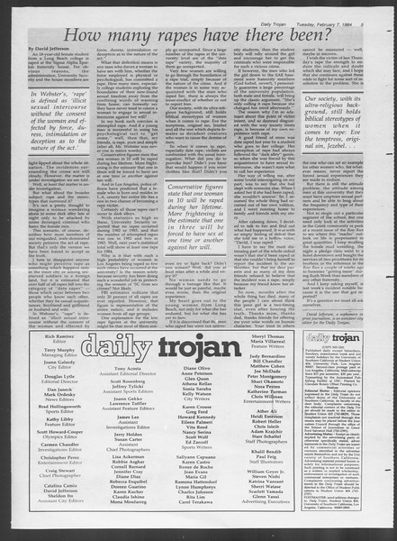 Daily Trojan, Vol. 95, No. 21, February 07, 1984