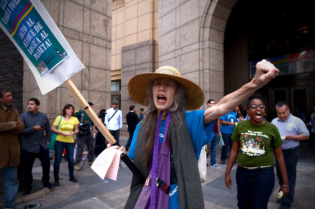 . Nancy Lawrence, 68, of Los Angeles, who rides the buses and bikes, protests before the MTA board meeting voted for a major fare increase Thursday, May 22, 2014. The increase will effect 500,000 riders of trains, subways and buses in Los Angeles County. Students rates will not increase. (Photo by Sarah Reingewirtz/Pasadena Star-News)