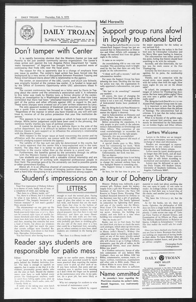 Daily Trojan, Vol. 61, No. 68, February 05, 1970