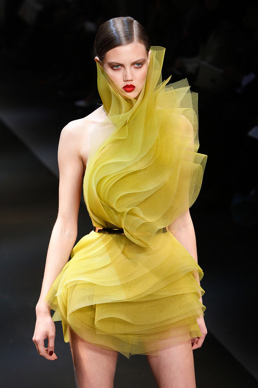 . A model presents a creation as part of the Alexandre Vauthier Spring-Summer 2014 Haute Couture fashion collection, presented Tuesday, Jan. 21, 2014 in Paris. (AP Photo/Thibault Camus)