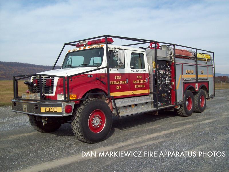 FORT INDIANTOWN GAP FIRE DEPT. BRUSH 75 1994 INTERNATIONAL/KME BRUSH TRUCK