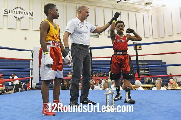 Bout #9:  Cardiare Davis, Red Gloves   vs   William Myhre, Blue Gloves - 100 Lbs.