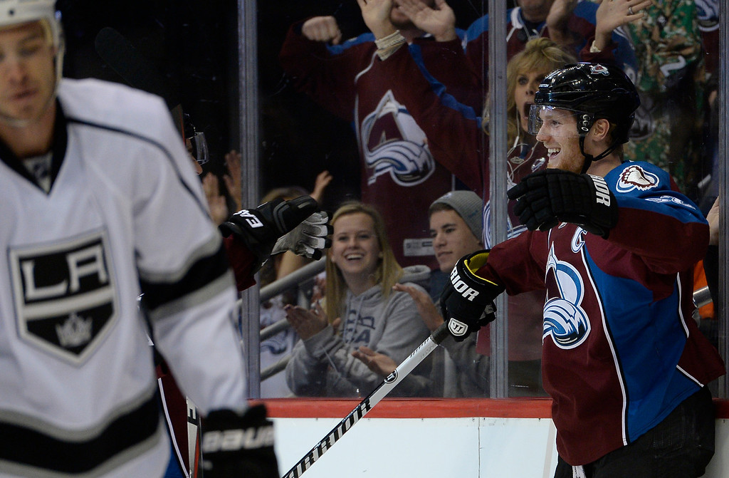 . DENVER, CO - FEBRUARY 18: Colorado Avalanche left wing Gabriel Landeskog (92) smiles after scoring a goal in the first period agains the Los Angeles Kings February 18, 2015 at Pepsi Center. (Photo By John Leyba/The Denver Post)
