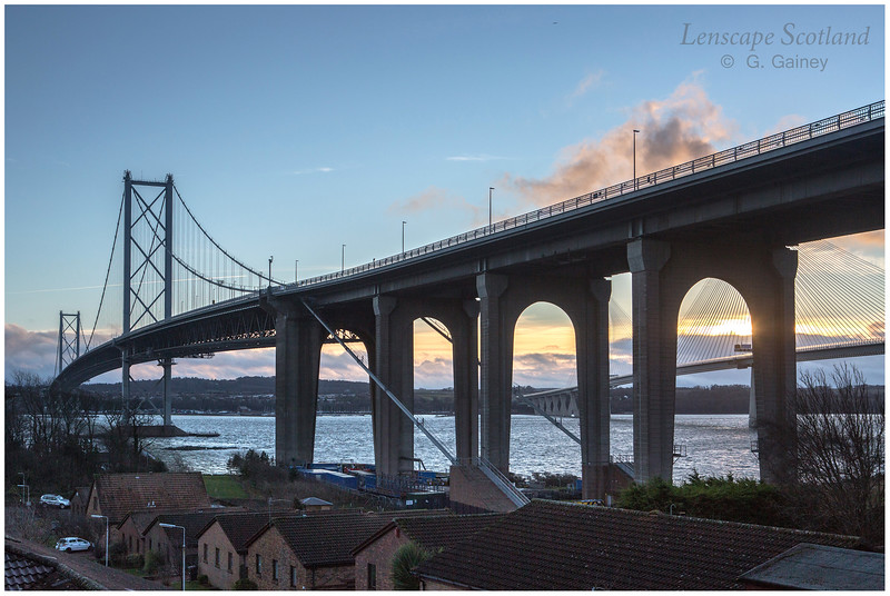 Forth Road Bridge from North Queensferry, dusk