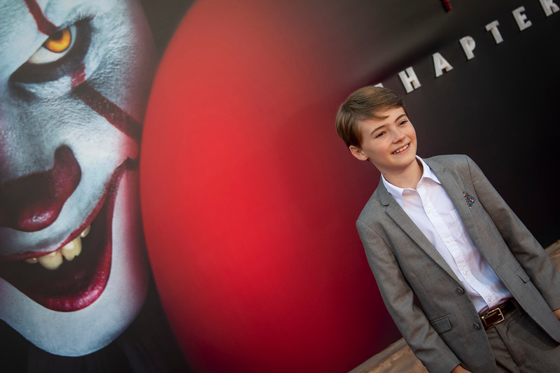 """WESTWOOD, CA - AUGUST 26: Jackson Robert Scott attends the Premiere Of Warner Bros. Pictures' """"It Chapter Two"""" at Regency Village Theatre on Monday, August 26, 2019 in Westwood, California. (Photo by Tom Sorensen/Moovieboy Pictures)"""