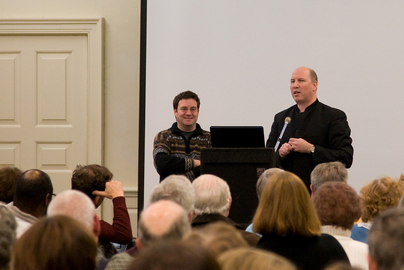 Jonathan Palevsky (WBJC) and Jed Gaylin at the pre-concert talk  -- HSO 25th anniversary concert