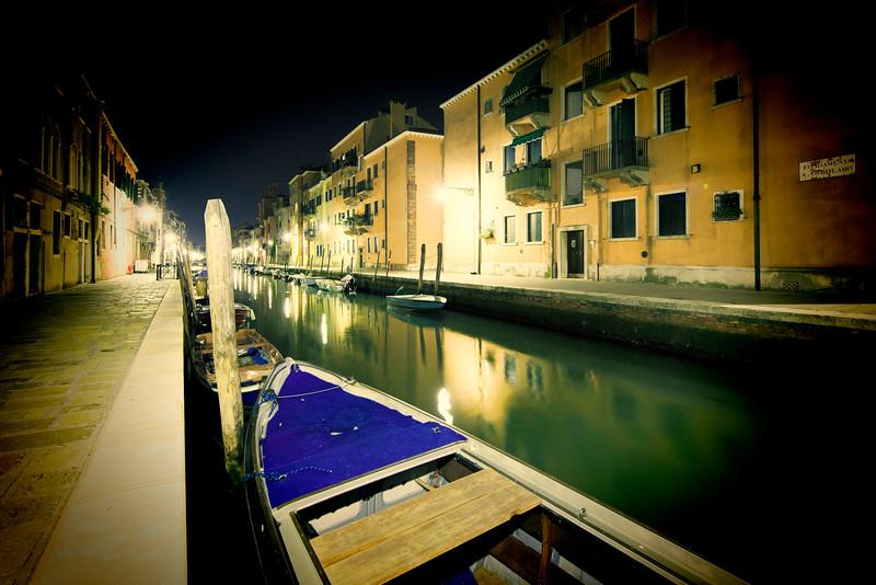 Fondamenta San Girolamo (right) and Carlo Coletti (left) by night, Cannaregio, Venice, Italy