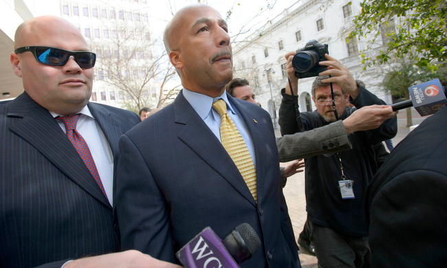. Former New Orleans Mayor C. Ray Nagin leaves the Hale Boggs Federal Building and United States District Courthouse after pleading not guilty in federal court at an arraignment on public corruption charges in New Orleans, Wednesday, Feb. 20, 2013. Nagin did not speak with reporters. (AP Photo/Matthew Hinton)