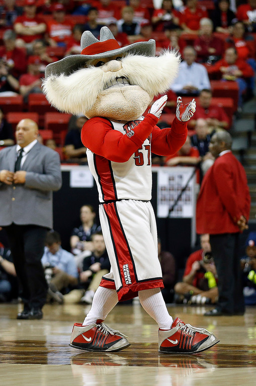 . UNLV mascot Hey Reb warms up the crowd during a break in first half of a Mountain West Conference tournament NCAA college basketball game against Air Force on Wednesday, March 13, 2013, in Las Vegas. UNLV defeated Air Force 72-56. (AP Photo/Isaac Brekken)