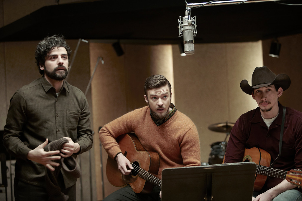 ". Oscar Isaac, left, as the title folk singer, Justin Timberlake and Adam Driver in the Coen brothers ""Inside Llewyn Davis.\"" Photo Alison Rosa, provided by CBS Films"
