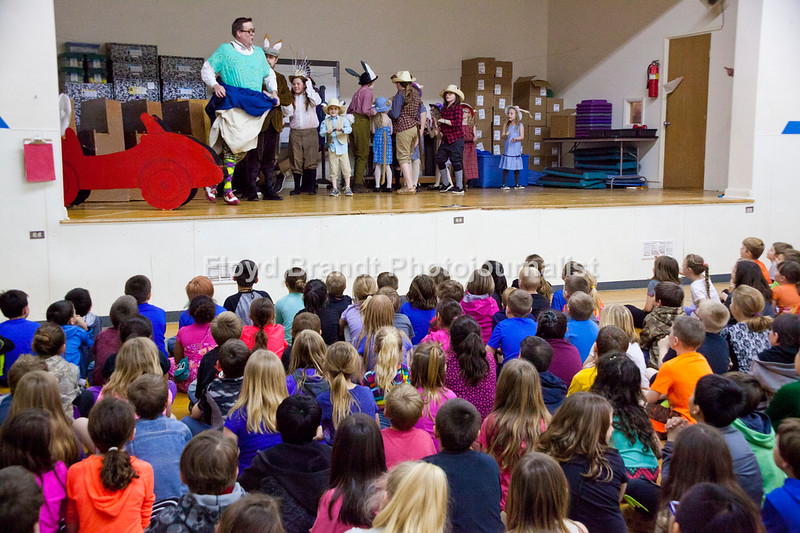 """Havre Daily News/Floyd Brandt  Entering Lincoln-McKinley School bursts of laughter could be heard throughout the school because of Montana Actors Theatre visit to Havre Schools Friday. MAT, promoting their newest play """"The Wind In the Willows"""" students got a taste of the upcoming play with Casey Pratt playing Toad."""