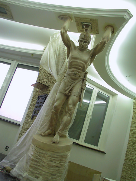 """""""Legioner"""" Support pillar. Plaster with marbelized staining. Height with pedestal: 2.4m Governmental official's Private residence, Moscow, Russia 2004."""