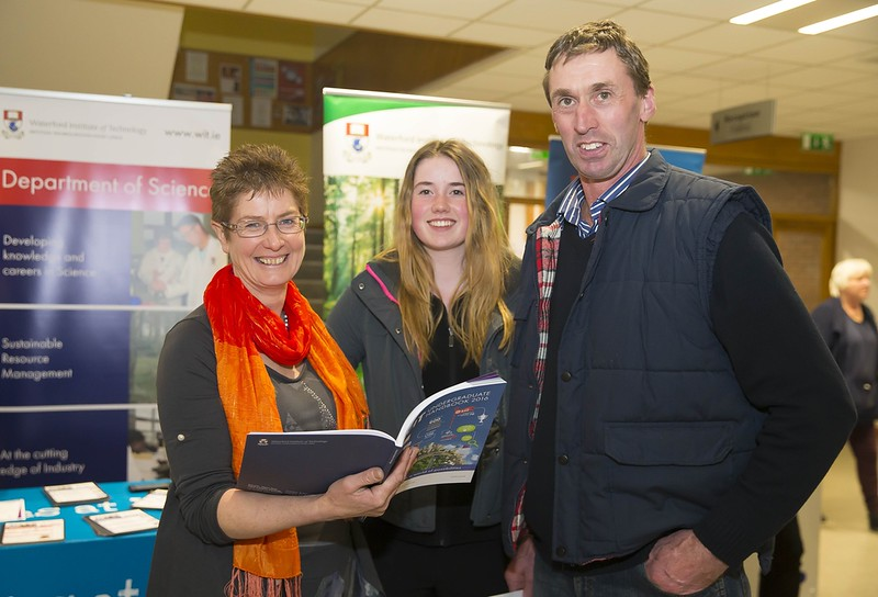 23/02/2016. Free To Use Image. Pictured at WIT (Waterford Institute Of Technology) Adult Learner Information Evening are Ann Dunphy WIT, Helen and Ned Morrissey from Dunhill, Co. Waterford. Picture: Patrick Browne
