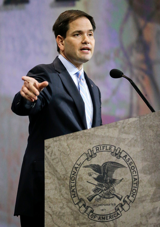 . Sen. Marco Rubio, R-Fla., speaks at the National Rifle Association convention Friday, April 10, 2015, in Nashville, Tenn. (AP Photo/Mark Humphrey)