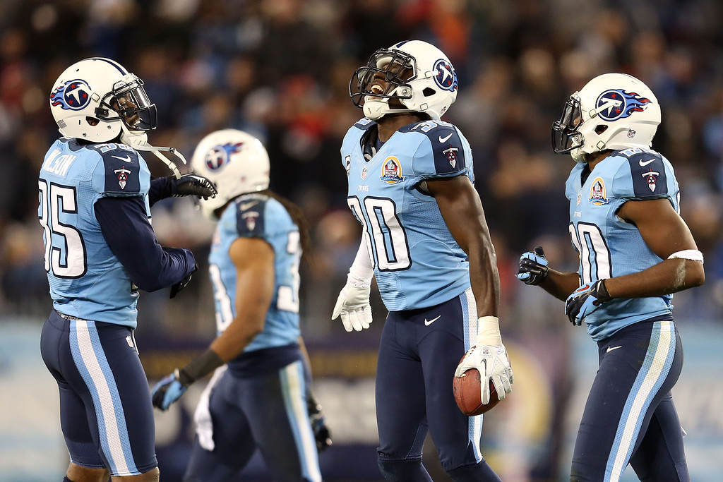 . NASHVILLE, TN - DECEMBER 17:  Cornerback Jason McCourty #30 of the Tennessee Titans celebrates after an interception against quarterback Mark Sanchez #6 of the New York Jets at LP Field on December 17, 2012 in Nashville, Tennessee.  (Photo by Andy Lyons/Getty Images)