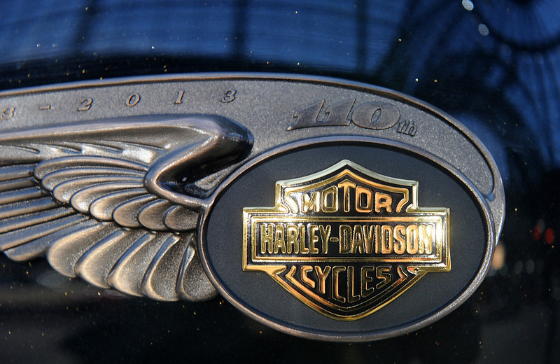 . A Harley Davidson logo is seen on the 2013 Harley Davidson 1 585 cm3 Dyna Super Glide Custom, donated to Pope Francis last year and signed by him on its tank, ahead of Bonham\'s sale of vintage cars, at Le Grand Palais on February 5, 2014 in Paris, France.  (Photo by Antoine Antoniol/Getty Images)