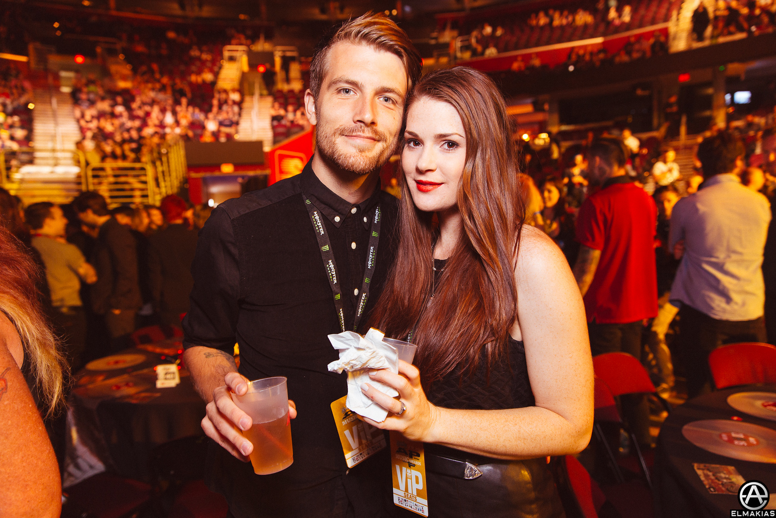 Trenton Woodley of Hands Like Houses and Kat Bryce at the APMAs 2015 by Adam Elmakias