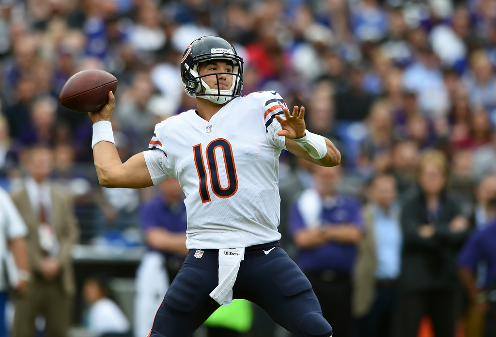 . Chicago Bears quarterback Mitchell Trubisky throws to a receiver in the first half of an NFL football game against the Baltimore Ravens, Sunday, Oct. 15, 2017, in Baltimore. (AP Photo/Gail Burton)
