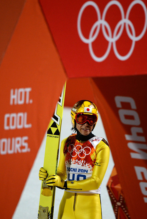 . Japan\'s Noriaki Kasai reacts after the Men\'s Ski Jumping Normal Hill Individual Final Round at the RusSki Gorki Jumping Center during the Sochi Winter Olympics on February 9, 2014 in Rosa Khutor.  PETER PARKS/AFP/Getty Images