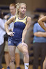 MORGANTOWN, WV - MARCH 8: WVU gymnast Lindsey Litten watches warm-ups during a dual meet March 8, 2015 in Morgantown, WV.