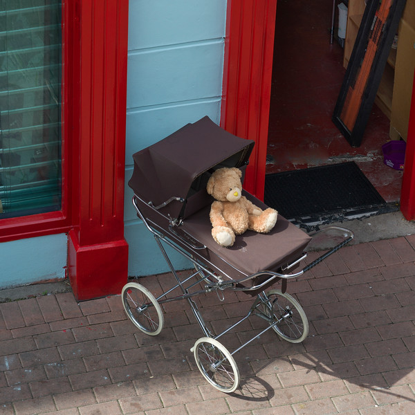 Teddy bear on a stroller, Londonderry, Northern Ireland, Ireland