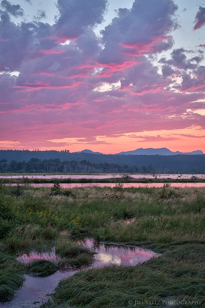 Sunset over the Skokomish River delta and the Hood Canal