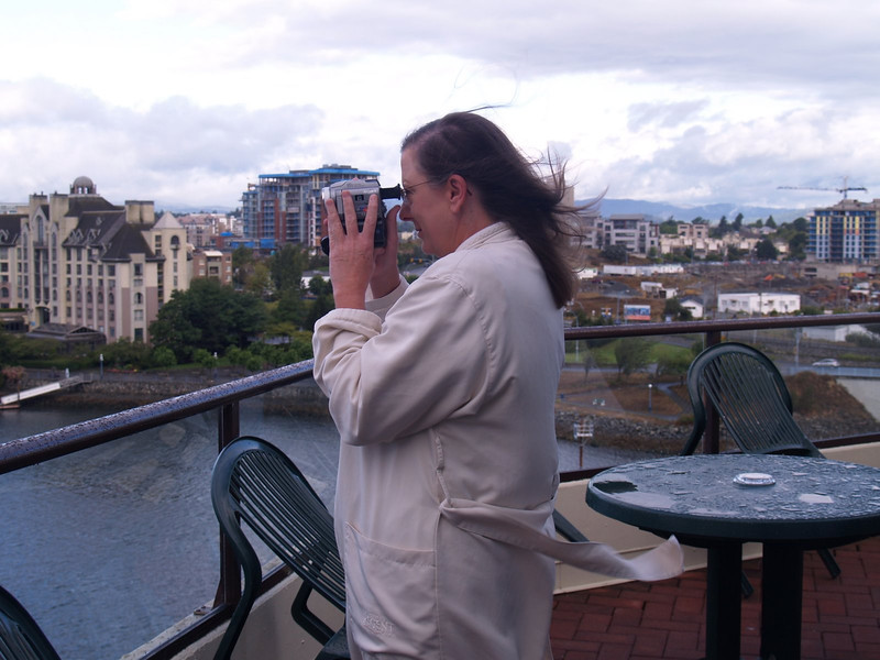 Here's me taking a movie of the planes in the harbor.
