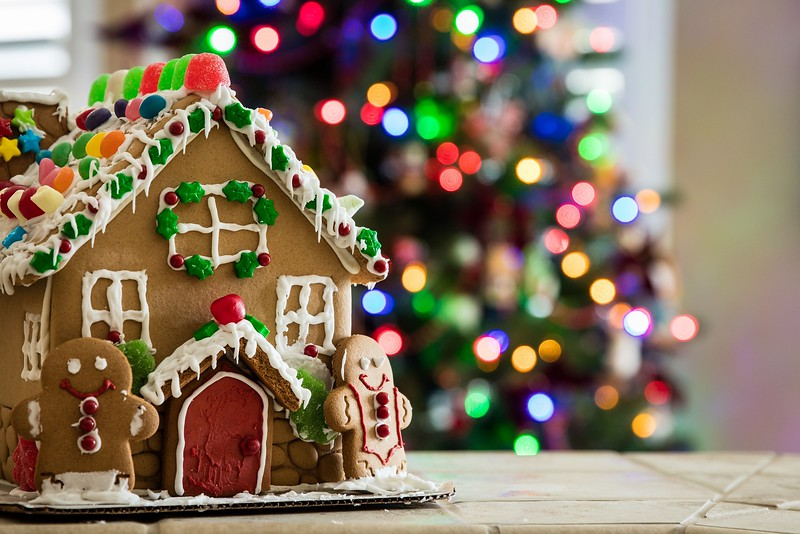 Gingerbread house with Christmas tree lights