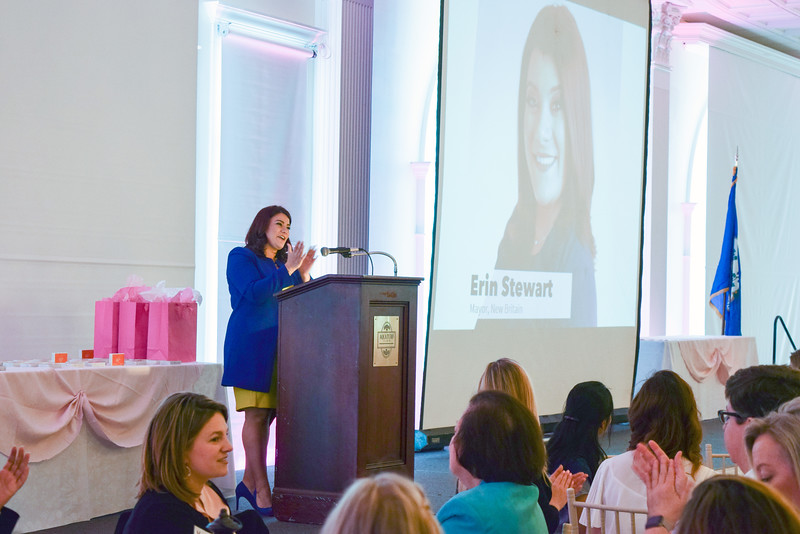 05/09/19  Wesley Bunnell | Staff  The New Britain YWCA held their Women in Leadership Luncheon on May 9th at the Aqua Turf in Southington. Mayor Erin Stewart give her welcoming remarks.