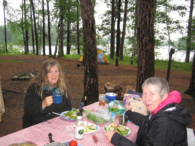 Karen left Cathy right Jim behind the camera. This is campsite 10 Owen Lake. Three rovers went on this trip organized by Karen. Thanks Karen! We had lots of rain but did just fine.