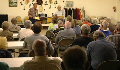 """Introduced by President Rand Williams as our """"rock star"""" presenter -- primarily because he seems to draw a large crowd each time he offers a program -- Linfred did it again this month.  About 75 persons attended the  May meeting.  A postman for some 25 years, Linfred and his wife, Charlotte, operated a retail business on Main Street in Spearfish for 13 years:  Bell, Book & Candles.    Linfred has provided a wide range of topics over the years.  Most recently, they've ranged from tornadoes and temperance to tombstones."""