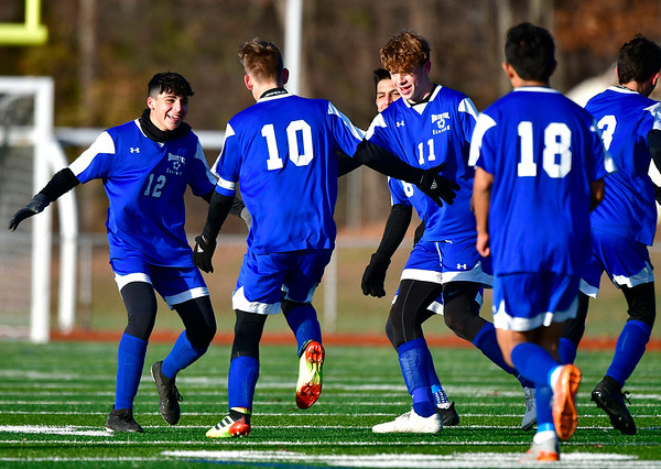 11/13/2019 Mike Orazzi | StaffrBristol Eastern's Jacob Woznicki (10) celebrates during the Class L Second Round boys soccer tournament with Bunnell High School in Bristol on Wednesday.