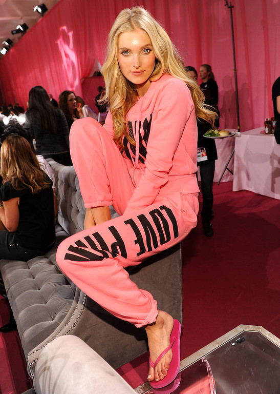 . Model Elsa Hosk prepares at the 2013 Victoria\'s Secret Fashion Show hair and make-up room at Lexington Avenue Armory on November 13, 2013 in New York City.  (Photo by Dimitrios Kambouris/Getty Images for Victoria\'s Secret)