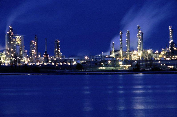 Night view of the oil refinery at Marche Point, Anacortes, WA