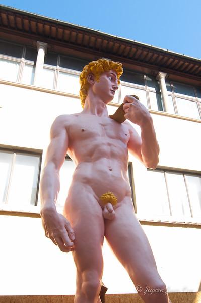 Replica of Michelangelo's David - in colours at a random location