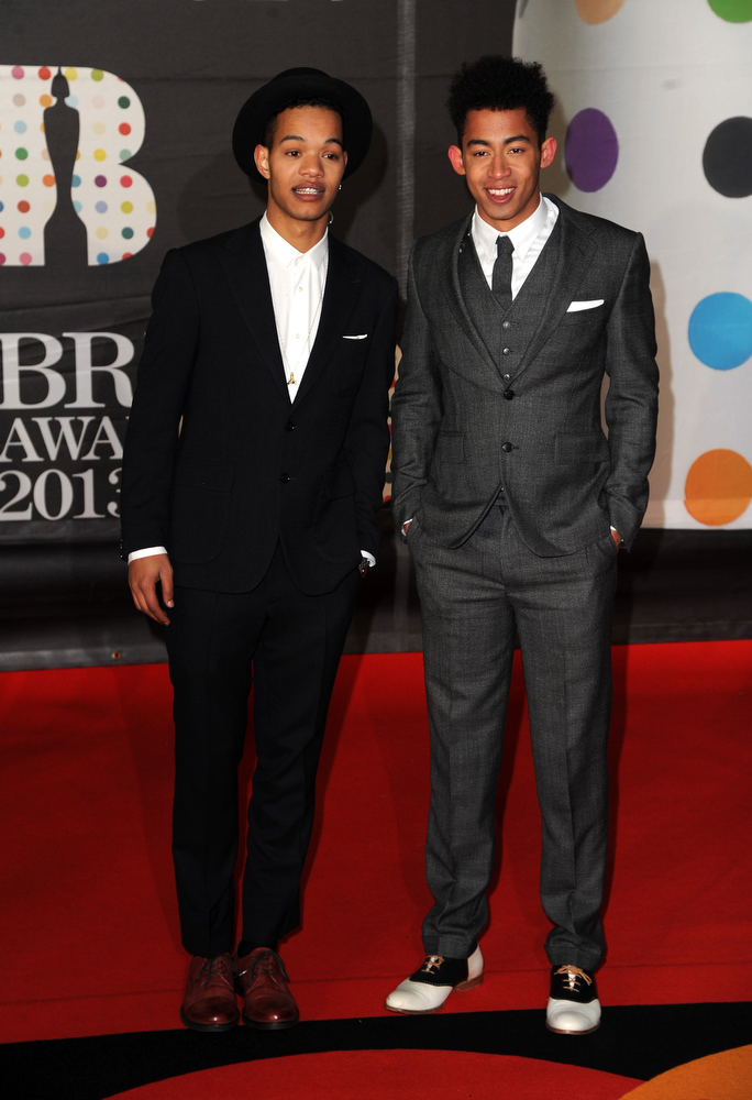 Description of . Harley Alexander-Sule and Jordan Stephens of Rizzle Kicks attend the Brit Awards 2013 at the 02 Arena on February 20, 2013 in London, England.  (Photo by Eamonn McCormack/Getty Images)