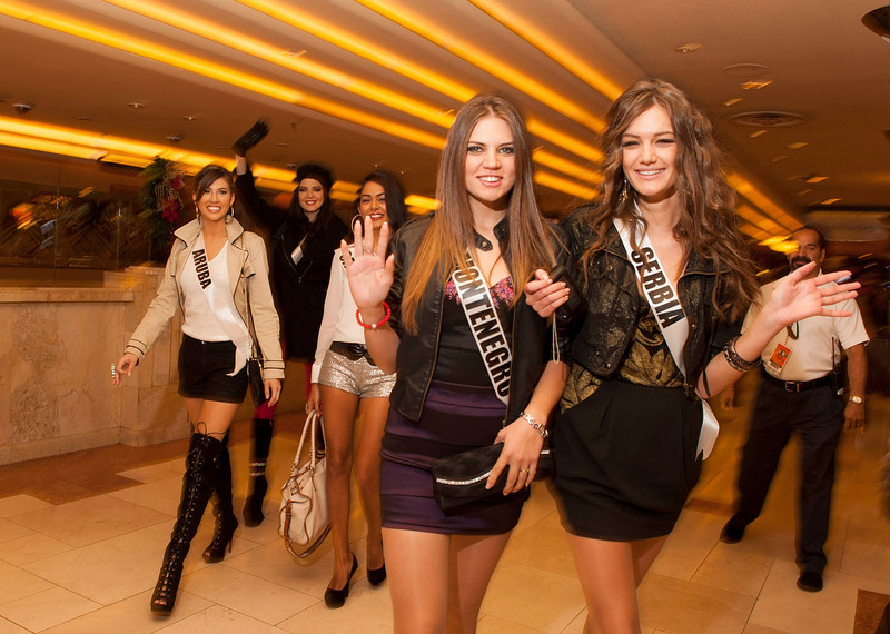. Miss Serbia 2012 Branislava Mandic (R), Miss Montenegro 2012 Andrea Radonjic (2nd R), Miss Peru 2012 Nicole Faveron (2nd L), Miss Cayman Islands 2012 Lindsay Japal and Miss Aruba 2012 Liza Helder (L) attend the Jubilee Show at Bally\'s in Las Vegas, Nevada December 6, 2012. The Miss Universe 2012 competition will be held on December 19. REUTERS/Valerie Macon/Miss Universe Organization L.P/Handout