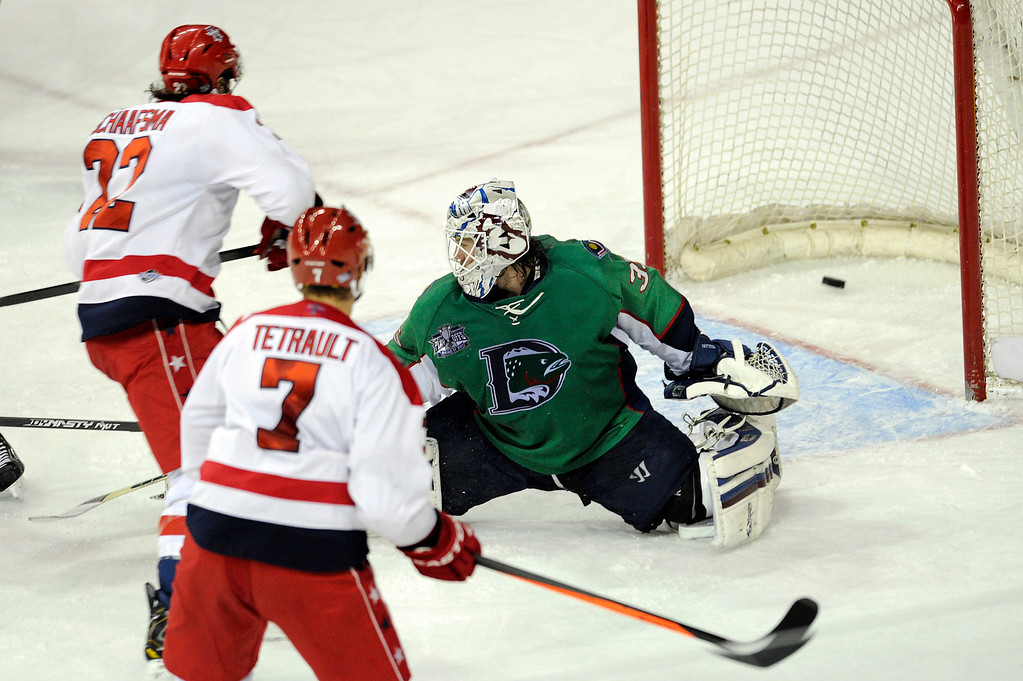 . DENVER, CO - MAY 2: Denver Cutthroats goalie Kent Patterson (35) gives up his third goal of the period during the second period of game 1 of the Ray Miron Presidents Cup Finals at the Denver Coliseum in Denver, Colorado on May 2, 2014. (Photo by Seth McConnell/The Denver Post)
